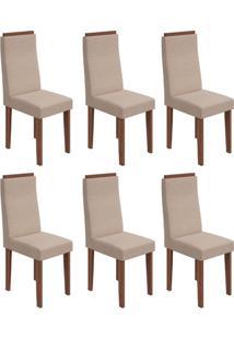 Conjunto Com 6 Cadeiras Dafne Ll Imbuia E Bege