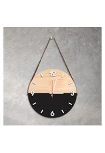 Relógio De Parede Decorativo Adnet Preto Com Números Em Relevo Médio