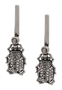 Alexander Mcqueen Beetle Drop Earrings - Prateado