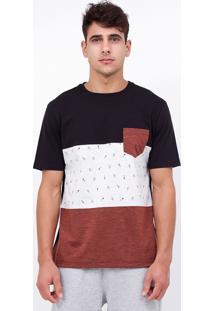 Camiseta Com Recortes E Bolso