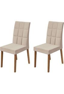 Conjunto Com 2 Cadeiras De Jantar Odara Bege