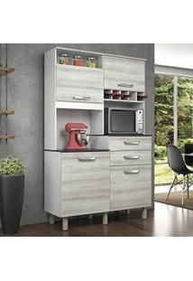 Armário De Cozinha 4 Portas 2 Gavetas Smart Jr Nesher Móveis Branco/Pérola