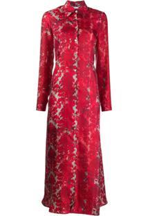 813 Silk Floral Print Shirt Dress - Vermelho