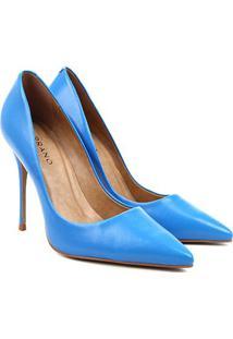 Scarpin Couro Carrano Verniz Salto Alto - Feminino-Azul