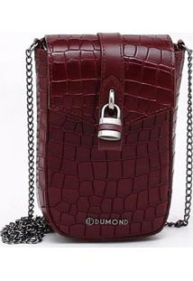 Bolsa Shoulder Bag Couro Croco Burgundy - P