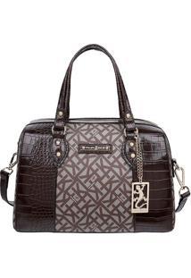 Bolsa Ba㺠Com Textura Croco - Marrom Escuro & Taupe Fellipe Krein