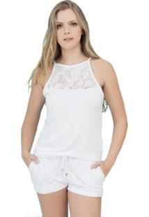 Pijama Inspirate Com Tecido Em Crochê Feminino - Feminino-Branco