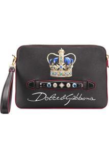 Dolce & Gabbana Cluth Com Logo E Aplicação De Cristais - Preto