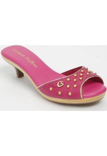 Tamanco Em Couro Com Spikes- Pink & Dourado- Salto: Carmen Steffens