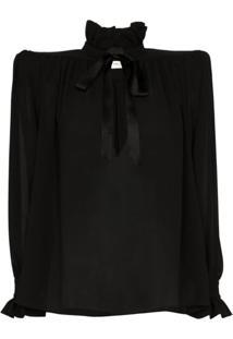 Saint Laurent Structured-Shoulder Silk Blouse - Preto