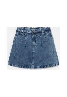 Saia Jeans Liso Com Cinto E Fivela Curve E Plus Size Azul