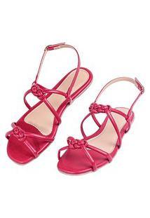 Sandalia Rasteira Love Shoes Nó Infinito Vermelho