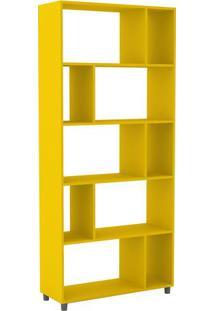 Estante Com Nichos- Amarela- 184X81,5X29,5Cm- Momovel Bento