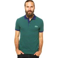 Camisa Polo Manga Curta Lacoste Listras Azul Verde c56fd61c4283f