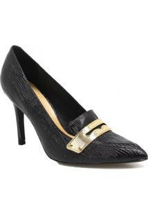 Sapato Vicenza Scarpin Loafer Em Couro - Feminino-Preto