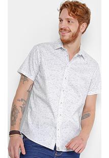 Camisa Triton Manga Curta Estampada Com Elastano Masculina - Masculino-Branco
