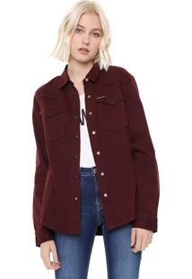 Camisa Sarja Calvin Klein Jeans Color Vinho