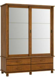 Guarda Roupa Finestra Esmeralda 1417 2 Portas Correr C/Espelho Imbuia
