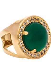 Anel Kumbayá Redondo Semijoia Banho De Ouro 18K Pedra Natural Jade E Cravação De Zircônias