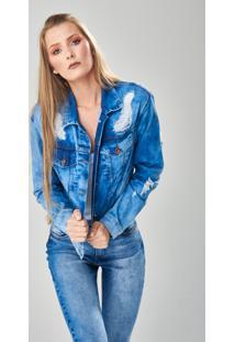 Jaqueta Jeans Tripdenim Destroyed Azul