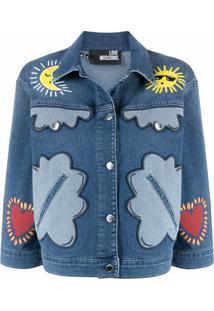 Love Moschino Jaqueta Jeans Com Patchwork - Azul