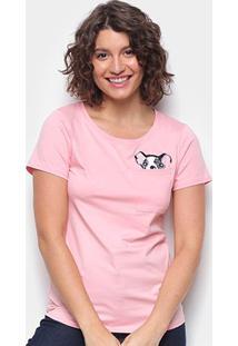 Camiseta Top Moda Boston Terrier Feminina - Feminino-Rosa