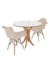 Conjunto Mesa De Jantar Tampo De Vidro 90Cm Com 2 Cadeiras Eiffel Com Braço - Nude