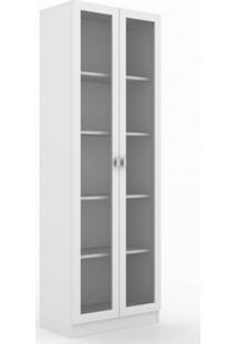 Armário Multiuso 2 Portas De Vidro 4 Prateleiras Tecno Mobili Branco