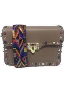 Bolsa Importada Transversal Alça Colorida Sys Fashion 8318 Caqui