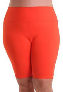 Bermuda Líquido Plus Size Cores Feminina - Feminino-Laranja