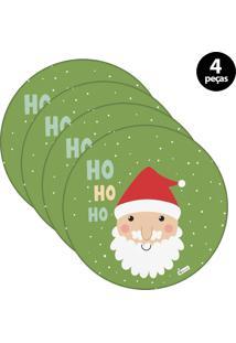 Sousplat Mdecore Natal Papai Noel 32X32Cm Verde 4Pçs
