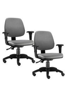 Kit Cadeiras Giratória Lyam Decor Job Cinza