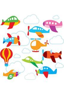 Adesivo De Parede Quartinhos Aviões E Nuvens Colorido