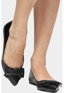 Sapatilha Shoestock Laço Laser - Feminino-Preto