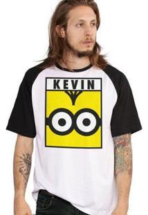 Camiseta Bandup! Raglan Minions Kevin - Masculino-Branco+Preto