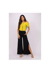 Calça Pantalona Viscose Amazonia Vital Com Fenda Preta