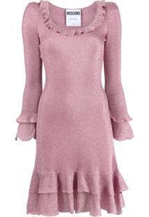 Moschino Vestido Com Babado - Rosa