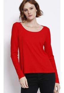 Blusa Canelada Com Fendas - Vermelha - Malweemalwee