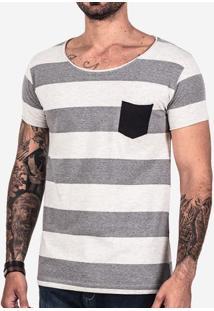 Camiseta Listrada Bolso Preto 101644