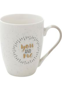 "Caneca De Porcelana ""You And Me""- Branca & Preta- 35Urban"