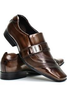 Sapato Social Masculino Venetto Verniz - Masculino-Marrom
