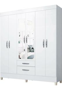 Guarda-Roupa Casal Filadélfia Branco 6 Portas E 2 Gavetas E Espelho - Incorplac