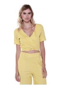 Cropped Studio 21 Fashion Linho Laço - Feminino-Amarelo