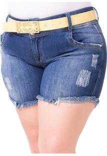 Shorts Confidencial Extra Plus Size Em Jeans Feminino - Feminino-Azul
