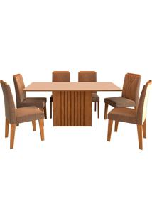 Conjunto De 6 Cadeiras Para Sala De Jantar 180X90 Ana/Nicole-Cimol - Savana / Off White / Pluma