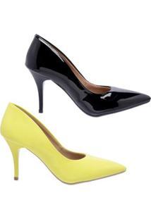 Kit 2 Pares De Scarpin Casual Salto Médio Ellas Online Feminino - Feminino-Preto+Amarelo