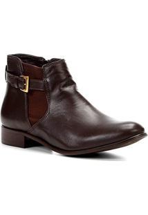 Bota Cano Curto Shoestock Fivela Elástico Feminina - Feminino-Café