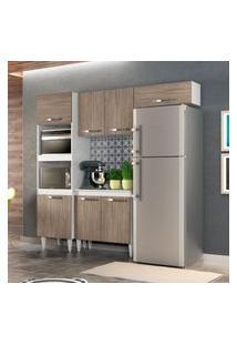 Cozinha Modulada 4 Módulos Composiçáo 4 Branco/Castanho - Lumil Móveis