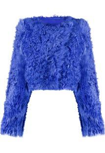 Off-White Jaqueta Cropped Com Pelos - Azul