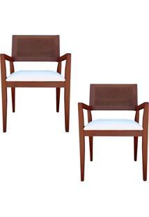Kit 2 Cadeiras Decorativas Sala De Jantar Megan Imbuia Linho Bege - Gran Belo